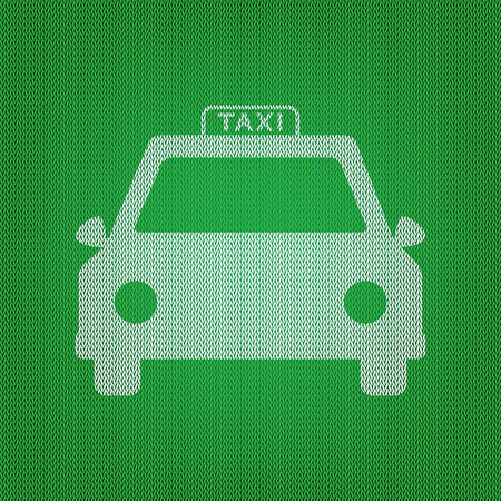 Taxi sign illustration. white icon on the green knitwear or woolen cloth texture. Illustration