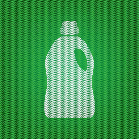 green cleaning: Plastic bottle for cleaning. white icon on the green knitwear or woolen cloth texture.