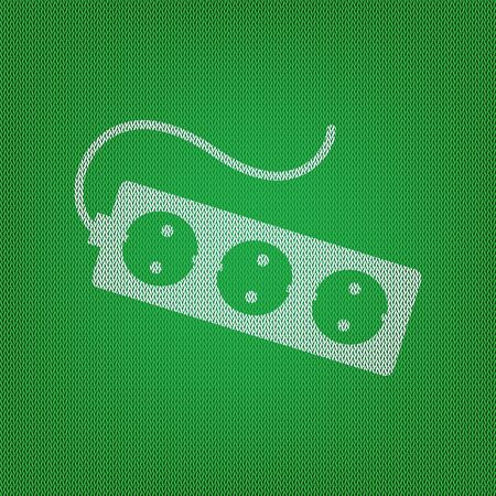 overload: Electric extension plug sign. white icon on the green knitwear or woolen cloth texture.