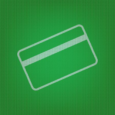 Credit card symbol for download. white icon on the green knitwear or woolen cloth texture.