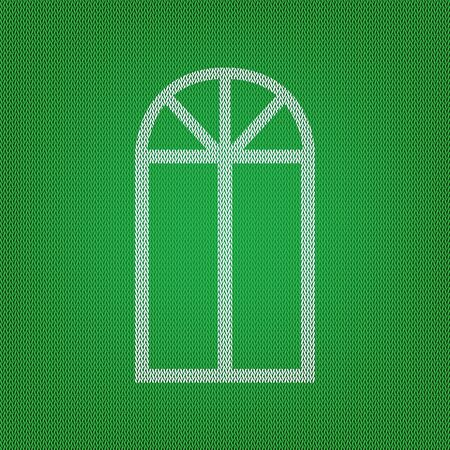 Window simple sign. white icon on the green knitwear or woolen cloth texture.
