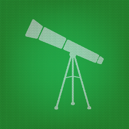 Telescope simple sign. white icon on the green knitwear or woolen cloth texture.