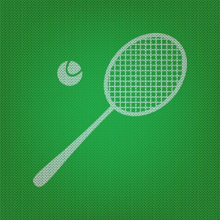 Tennis racquet sign. white icon on the green knitwear or woolen cloth texture. Illustration