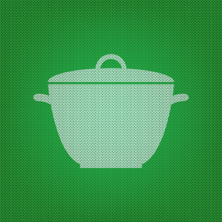 Saucepan simple sign. white icon on the green knitwear or woolen cloth texture.