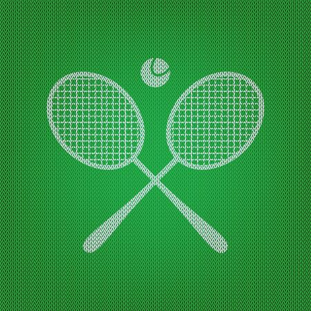 Tennis racket sign. white icon on the green knitwear or woolen cloth texture.