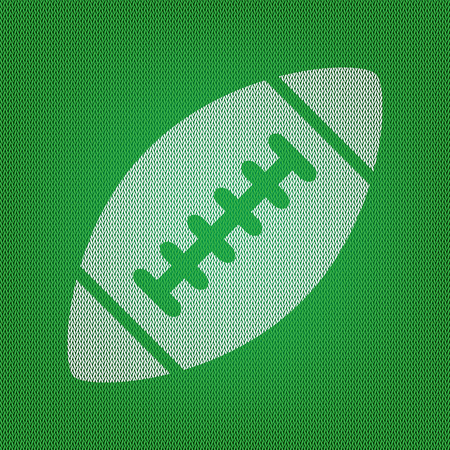 American simple football ball. white icon on the green knitwear or woolen cloth texture. Illustration