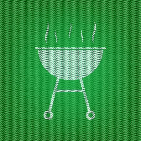 Barbecue simple sign. white icon on the green knitwear or woolen cloth texture.