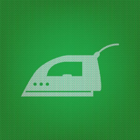 Smoothing Iron sign. white icon on the green knitwear or woolen cloth texture. Illustration