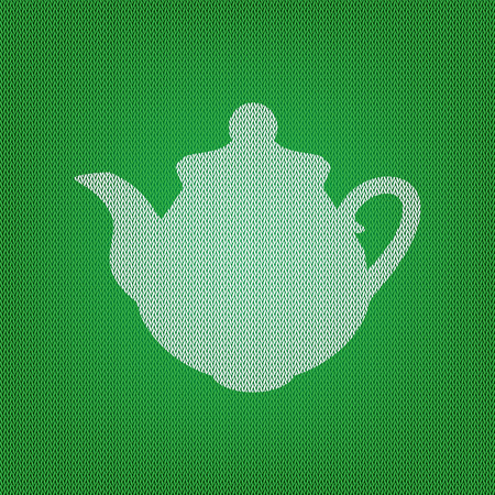 Tea maker Kitchen sign. white icon on the green knitwear or woolen cloth texture. Illustration