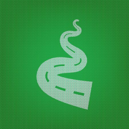 Road simple sign. white icon on the green knitwear or woolen cloth texture.