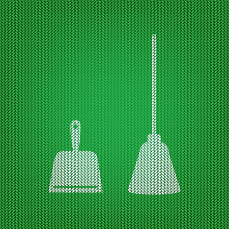 whisk broom: Dustpan vector sign. Scoop for cleaning garbage housework dustpan equipment. white icon on the green knitwear or woolen cloth texture.