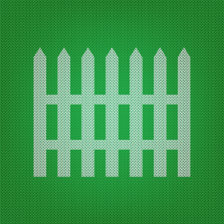 dissociation: Fence simple sign. white icon on the green knitwear or woolen cloth texture. Illustration