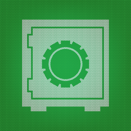 Safe sign illustration. white icon on the green knitwear or woolen cloth texture.