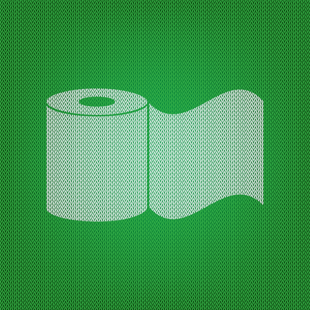 wiping: Toilet Paper sign. white icon on the green knitwear or woolen cloth texture.
