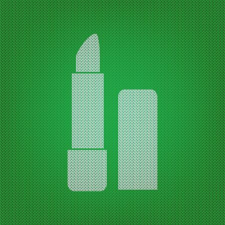 Pomade simple sign. white icon on the green knitwear or woolen cloth texture. Illustration