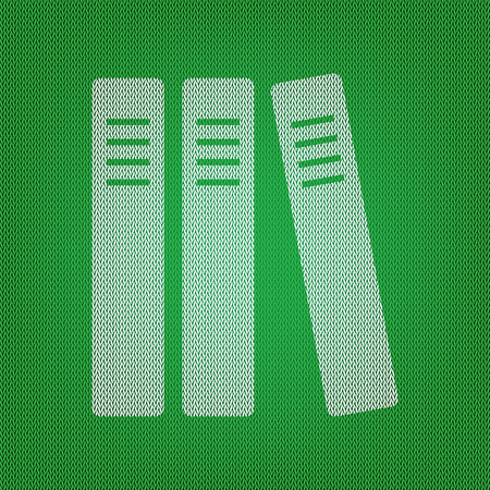 classify: Row of binders, office folders icon. white icon on the green knitwear or woolen cloth texture.