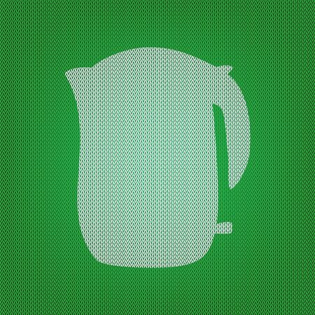 electric kettle: Electric kettle sign. white icon on the green knitwear or woolen cloth texture.