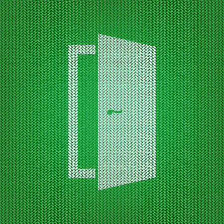 door sign: Door sign illustration. white icon on the green knitwear or woolen cloth texture.