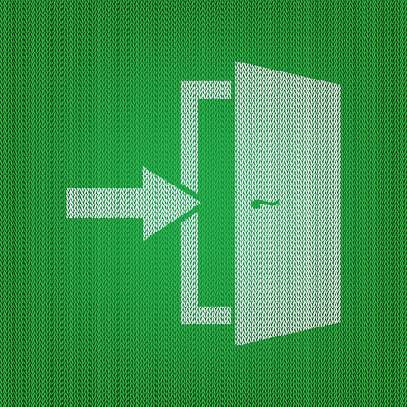 Door Exit sign. white icon on the green knitwear or woolen cloth texture.
