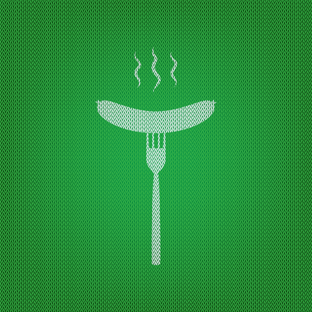roasted: Sausage on fork sign. white icon on the green knitwear or woolen cloth texture.
