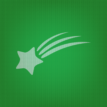 starfall shooting star sign white icon on the green knitwear or woolen cloth texture