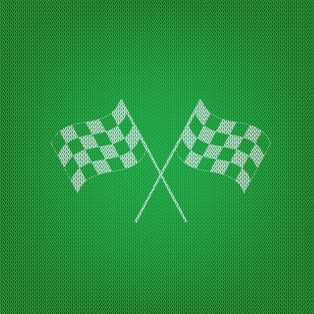 Crossed checkered flags logo waving in the wind conceptual of motor sport. white icon on the green knitwear or woolen cloth texture.