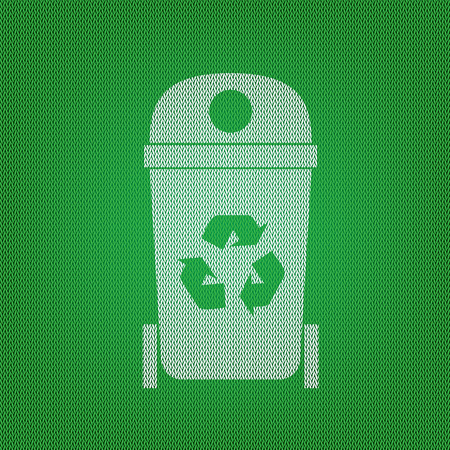 Trashcan sign illustration. white icon on the green knitwear or woolen cloth texture. Illustration