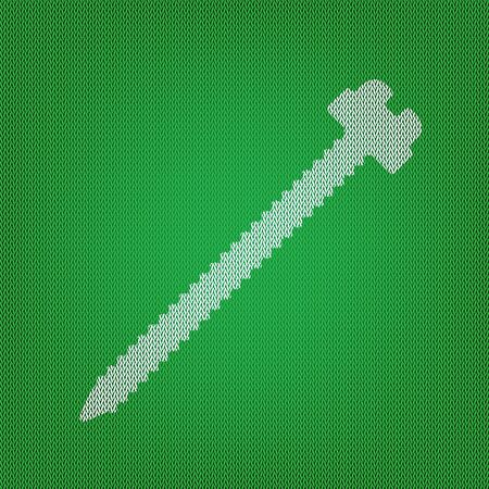 Screw sign illustration. white icon on the green knitwear or woolen cloth texture. Illustration