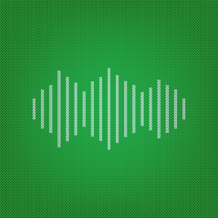 Sound waves icon. white icon on the green knitwear or woolen cloth texture.
