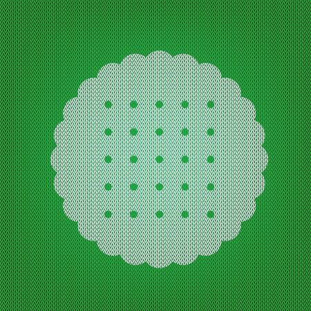 Pyramid sign illustration. white icon on the green knitwear or woolen cloth texture.