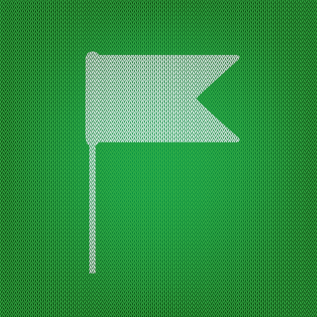 Flag sign illustration. white icon on the green knitwear or woolen cloth texture. Illustration