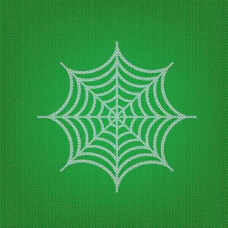 Spider on web illustration. white icon on the green knitwear or woolen cloth texture. Illustration
