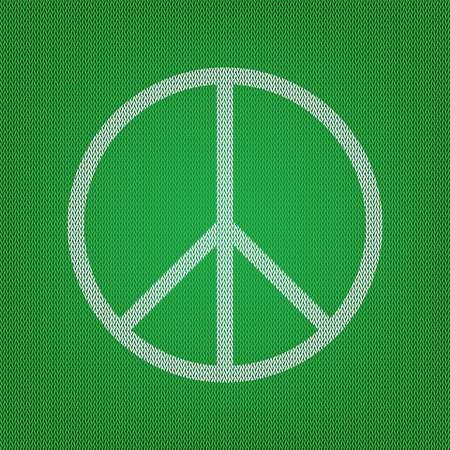 Peace sign illustration. white icon on the green knitwear or woolen cloth texture.