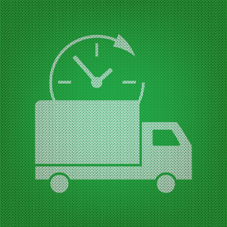 semitruck: Delivery sign illustration. white icon on the green knitwear or woolen cloth texture.