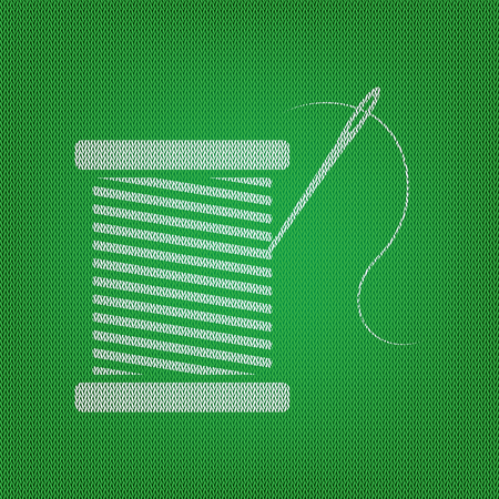 Thread with needle sign illustration. white icon on the green knitwear or woolen cloth texture.