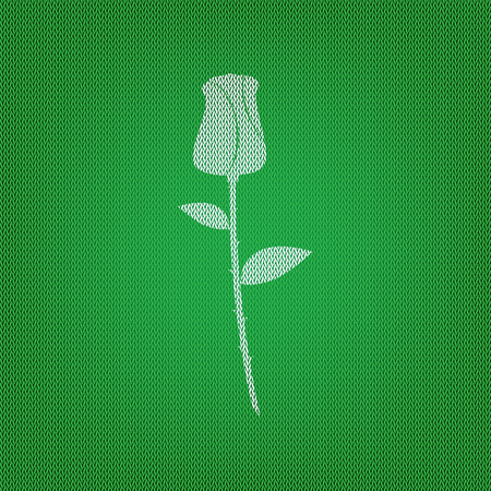 Rose sign illustration. white icon on the green knitwear or woolen cloth texture.