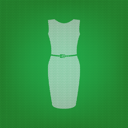 Dress sign illustration. white icon on the green knitwear or woolen cloth texture. Illustration