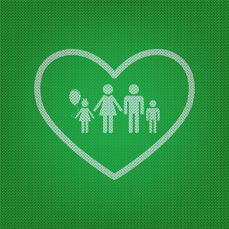 siloette: Family sign illustration in heart shape. white icon on the green knitwear or woolen cloth texture. Illustration