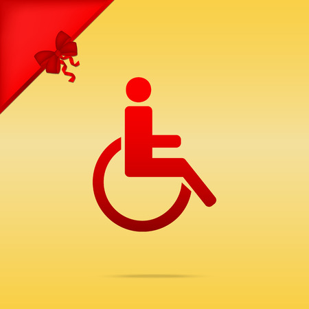 disabled sign: Disabled sign illustration. Cristmas design red icon on gold background.