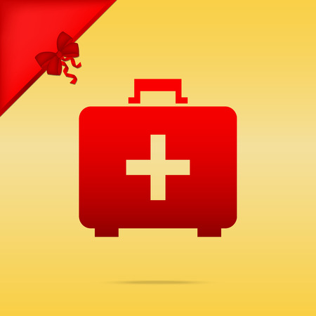 Medical First aid box sign. Cristmas design red icon on gold background.