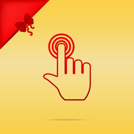 Hand click on button. Cristmas design red icon on gold background.
