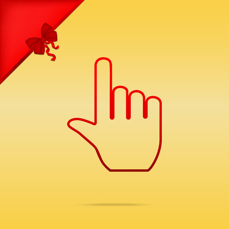 Hand sign illustration. Cristmas design red icon on gold background. Illustration