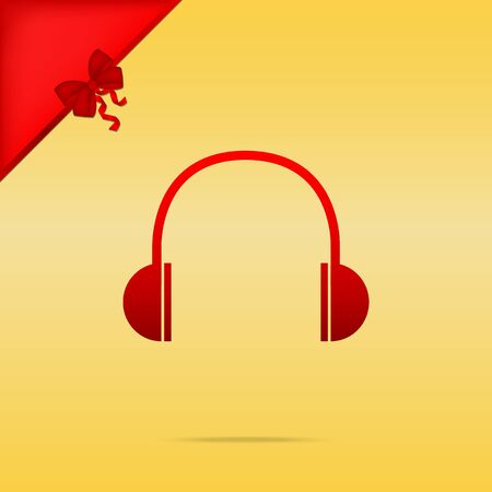 Headphones sign illustration. Cristmas design red icon on gold background. Illustration
