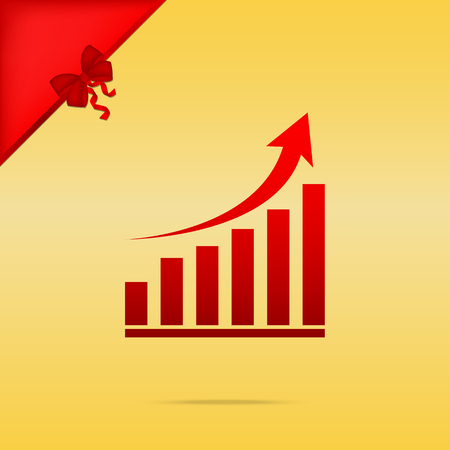 Cristmas: Growing graph sign. Cristmas design red icon on gold background. Illustration
