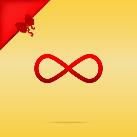 cristmas: Limitless symbol illustration. Cristmas design red icon on gold background.