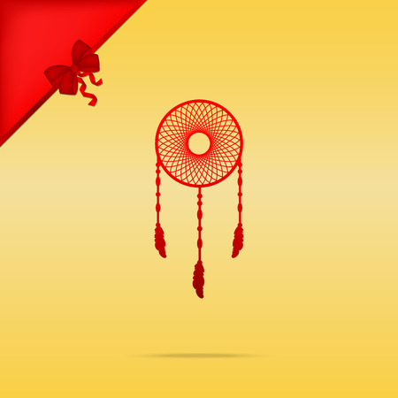 Dream catcher sign. Cristmas design red icon on gold background.