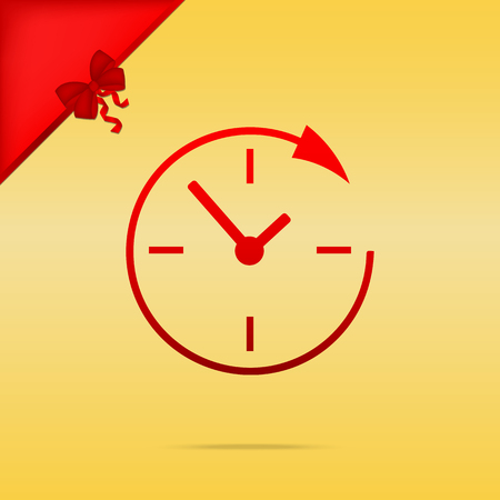 Service and support for customers around the clock and 24 hours. Cristmas design red icon on gold background. Illustration