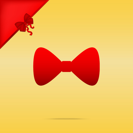 cristmas: Bow Tie icon. Cristmas design red icon on gold background.