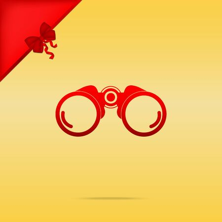 Binocular sign illustration. Cristmas design red icon on gold background.