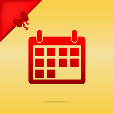 cristmas: Calendar sign illustration. Cristmas design red icon on gold background.